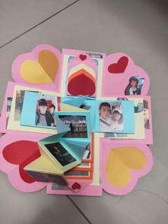 手工卡片爆炸禮物盒客制化客製,情人節禮物女朋友,男朋友情人特別交換禮物盒