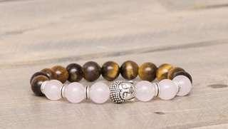 Rose Quartz and Tiger Eye Buddha Bracelet