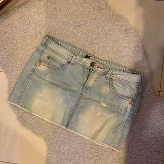 Bershka ripped denim skirt