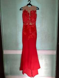 Red Mermaid Gown