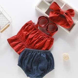 🚚 Red Crop Top Jeans Pant with Headband for Baby Girl (NCD 012)