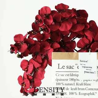 Oriental Wine Red Large Orchid Fabric Flower