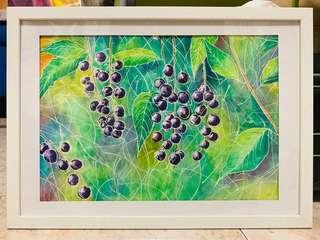 🚚 Ready to hang watercolour painting. Berries.