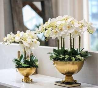 Orchid Artificial Fabric Flower Table Arrangement