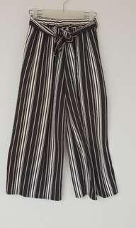Black & White Strips Loose Trousers
