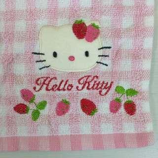 Hello Kitty 粉紅x白 格仔毛巾 草莓  Sanrio 1999年 (全新 未用過)