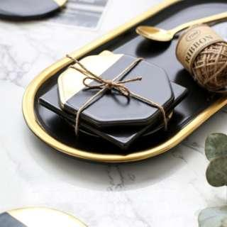 Black Ceramic Coasters with Gold Accents - Set of 2