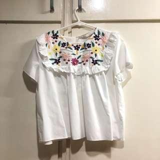 ZARA Flowers Embroidered Top