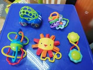 Set of rattles and teethers