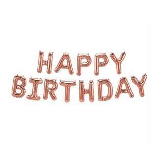"🚚 [New Stock] 16"" Rose gold ""happy birthday"" foil balloon"