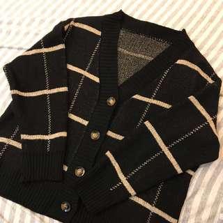 大格紋排扣寬鬆毛衣外套