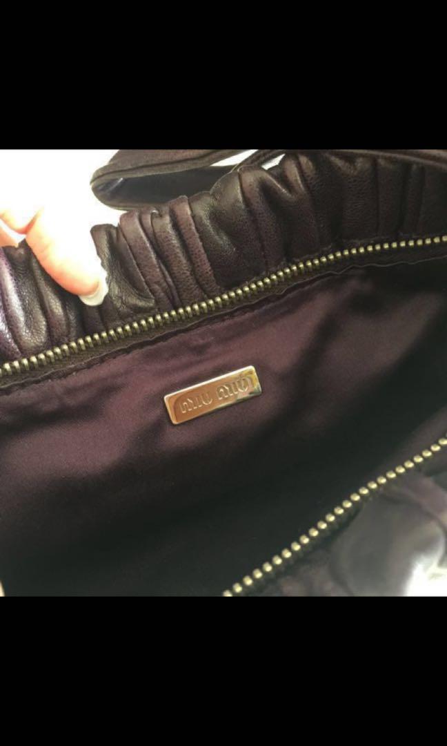 90% 新Miu Miu 特別深淺紫色羊皮手提包
