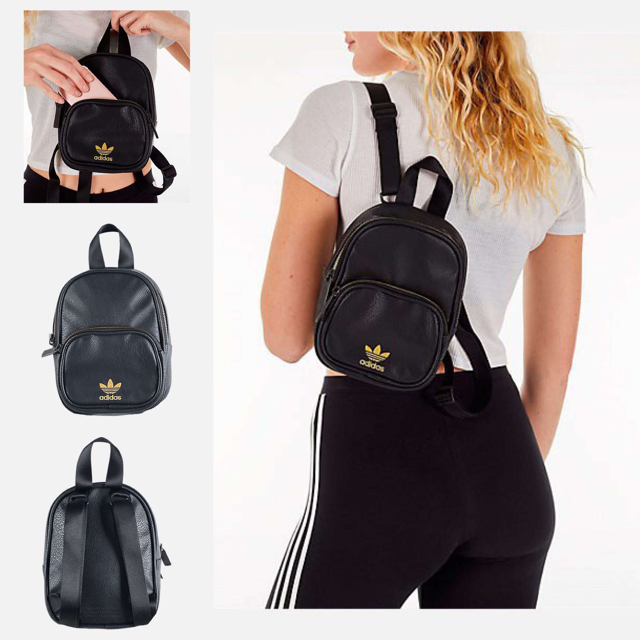 bd19fe04d Adidas Originals Faux Leather Black Gold Mini Backpack, Women's ...