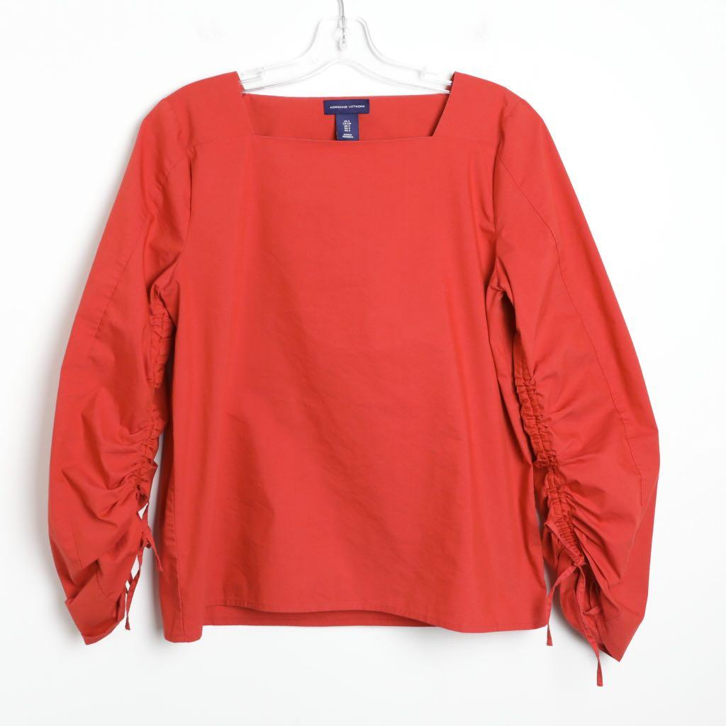 Adrienne Vittadini S small true red drawstring sleeves top