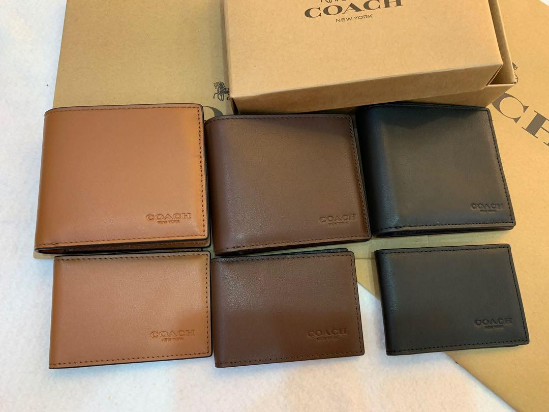 Authentic coach men ready stock 74991 plain colour leather wallet