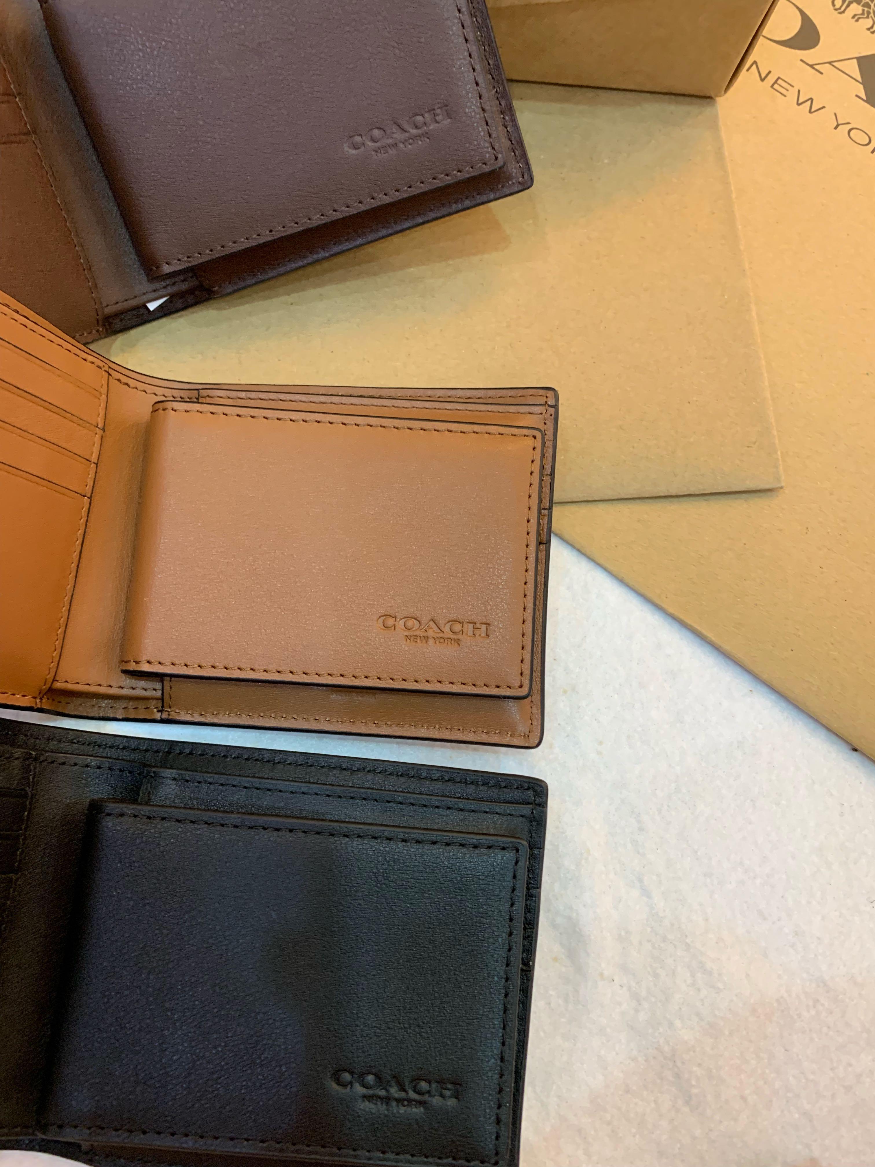 Authentic coach men ready stock 74991 plain colour leather wallet