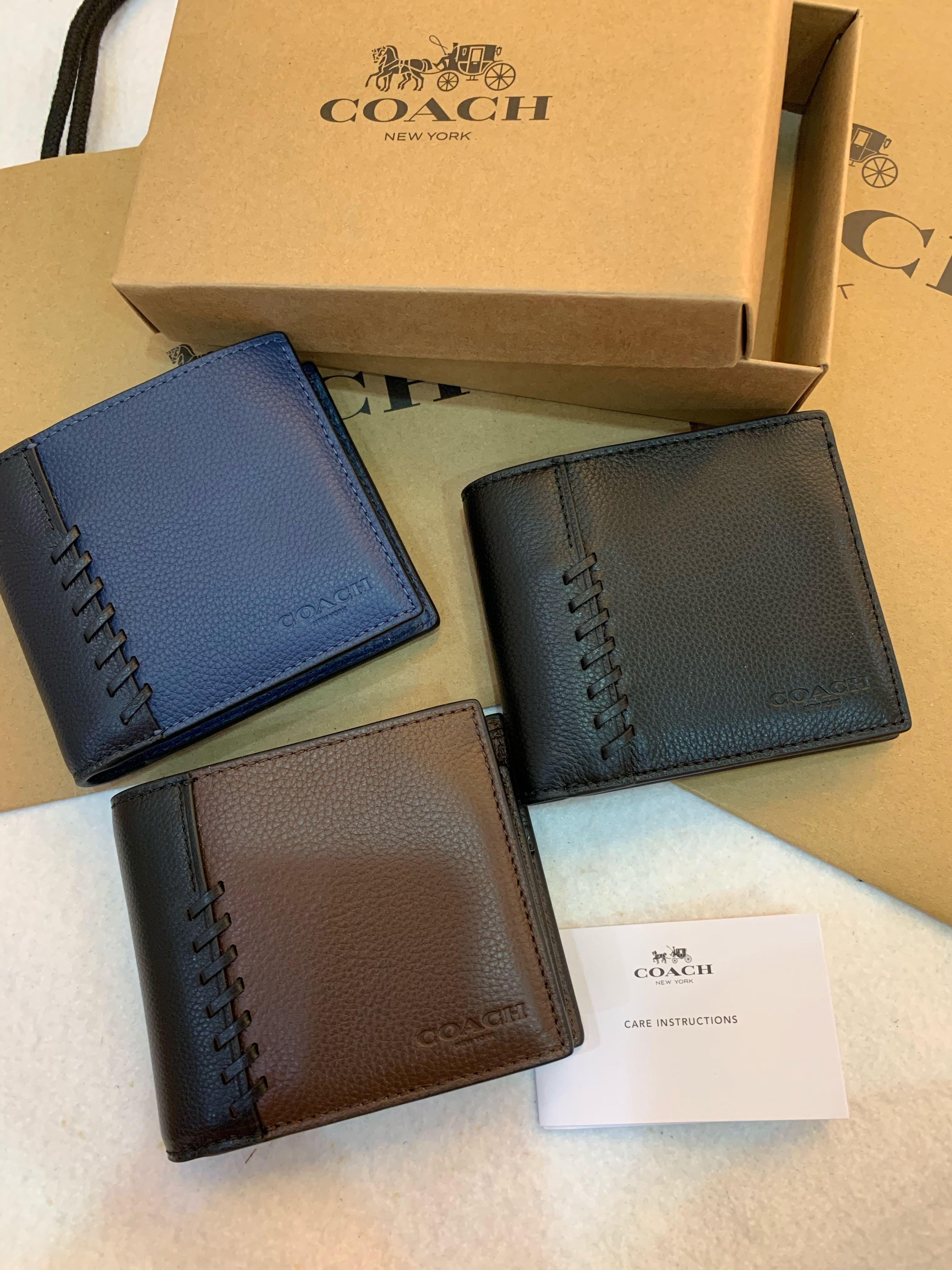 Authentic coach ready stock men wallet with strip 21371