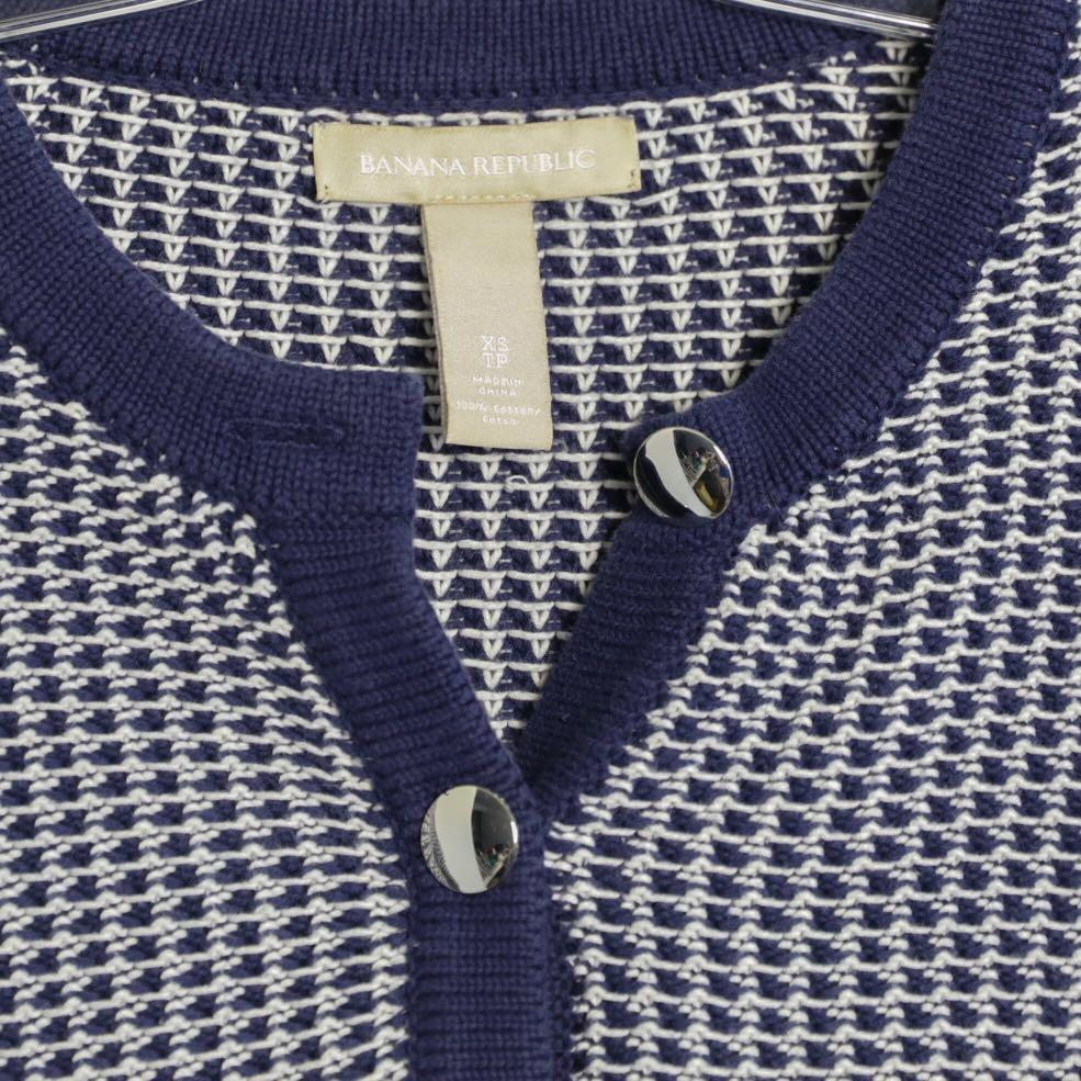 Banana Republic blue cotton blazer with silver buttons XS S