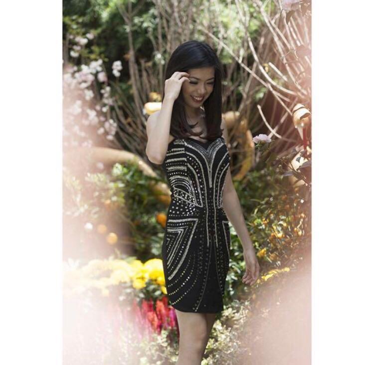 5c95e3a1acc BNIB Megagamie Black Bejewelled Tube Dress S