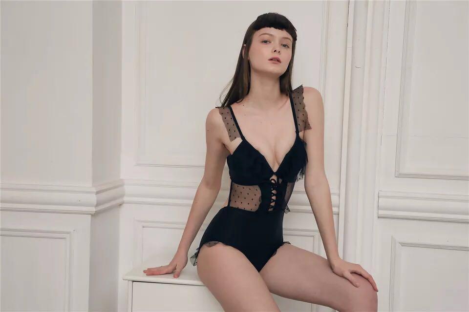 Brand New Zimmermann Inspired Remake Polka Dot Mesh Swimsuit Black