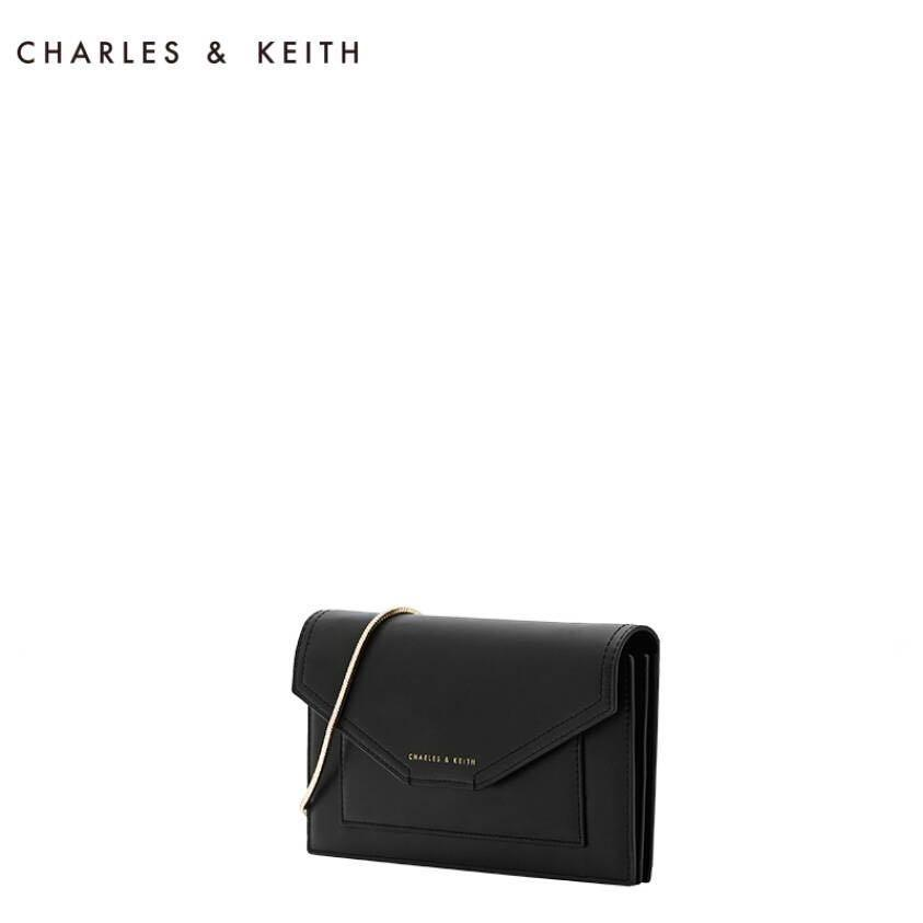 Charles and Keith Envelope Flap Work Wallet (L Size Black - CK6-10840020)