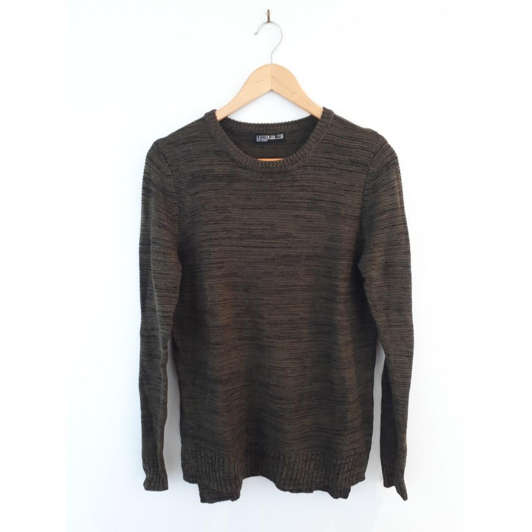 Cotton On Archy Pullover, Olive and Black Fleck, Size XS