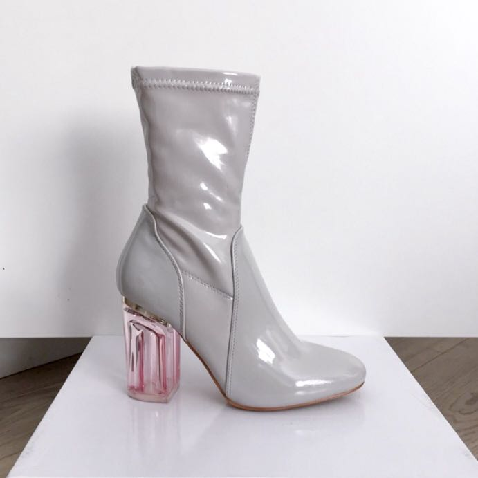 e5add58fee Gray patent ankle boot with pink Perspex heel, Women's Fashion ...