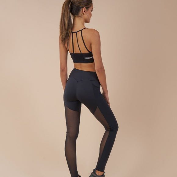 7d83ddebf424f GYMSHARK SIMPLY MESH LEGGINGS - BLACK, Sports, Sports Apparel on Carousell