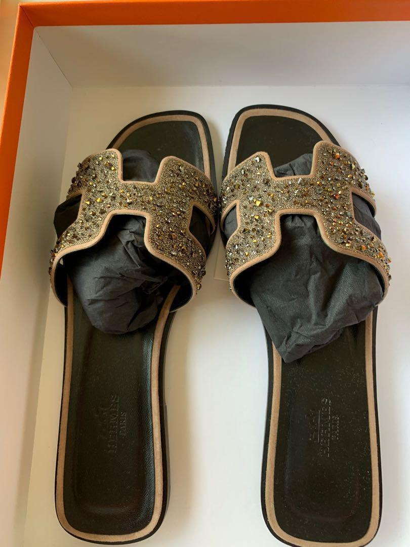 Hermès Oran Sandals with Crystals Brand New in Box 38
