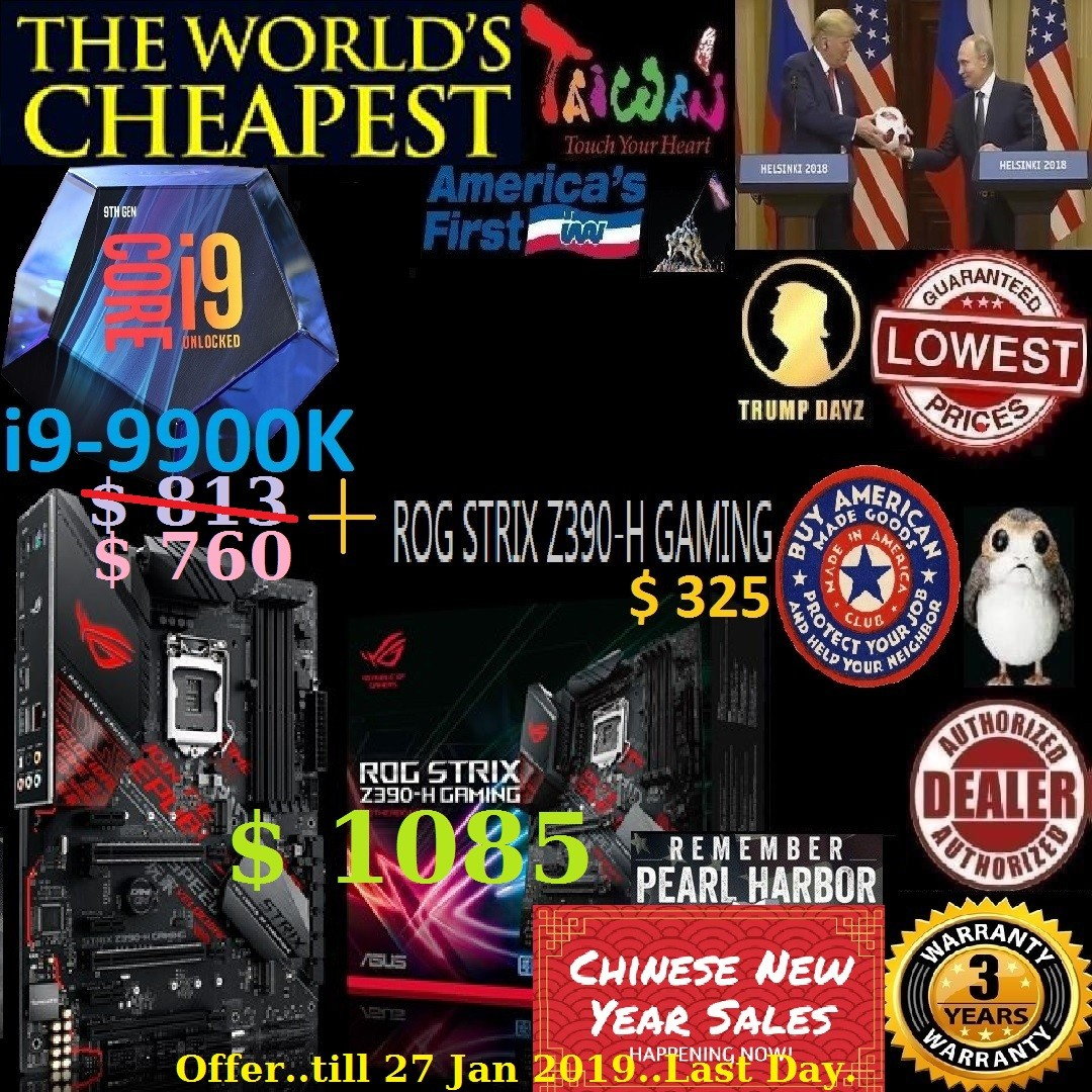 Intel core i9-9900K Cache up to 5GHz + Asus ROG STRIX Z390-H Gaming World's  Cheapest Sales Bundle   , Combine with Mobo Bundle price shown below   ,