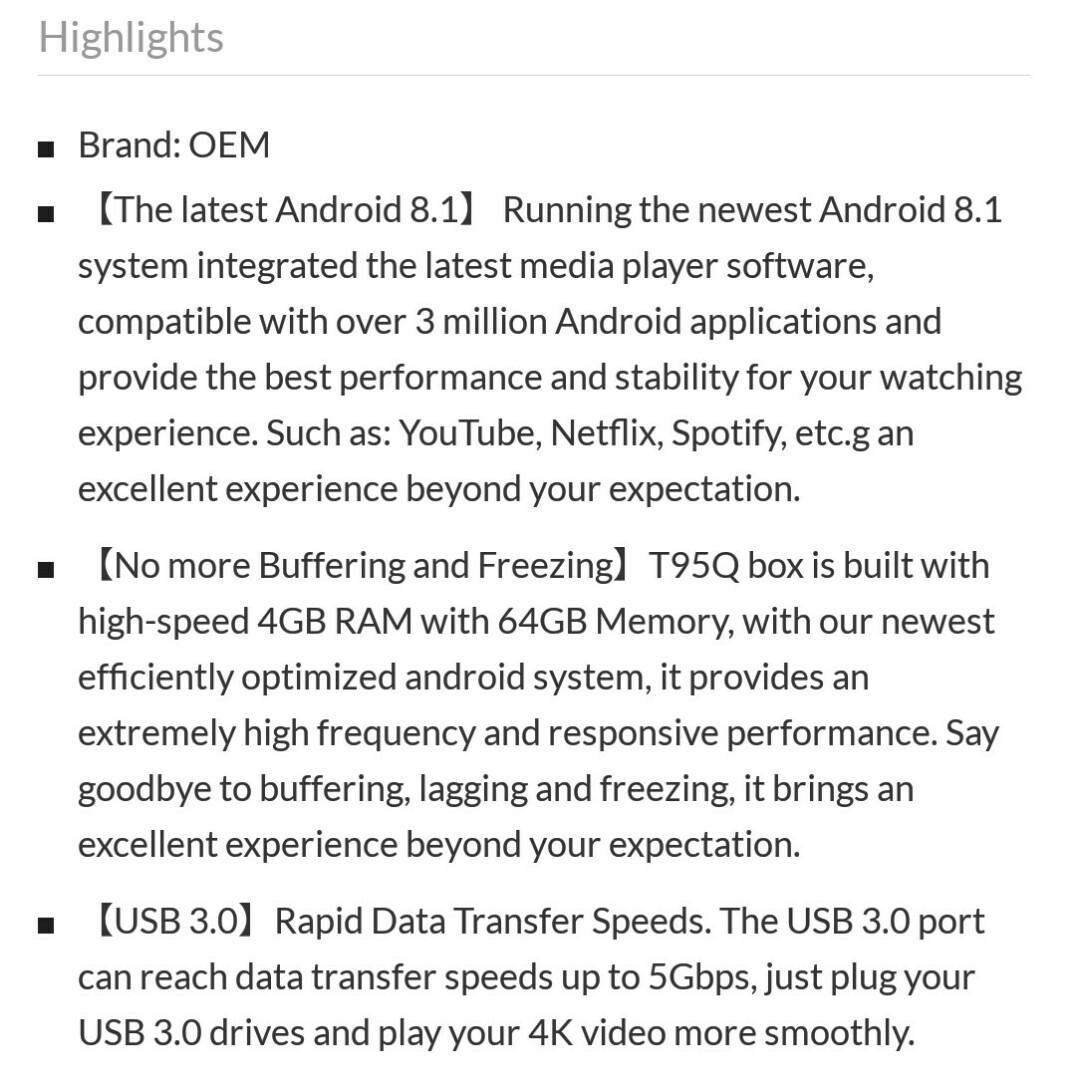 Limited Stock) T95Q Android 8 1 TV Box 64gb Rom 4gb ddr4 Ram