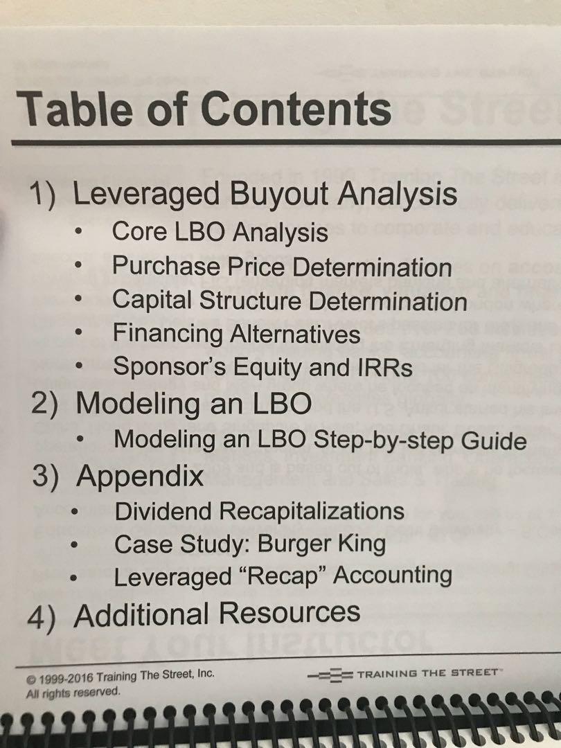 Leveraged buyout analysis - Training the street