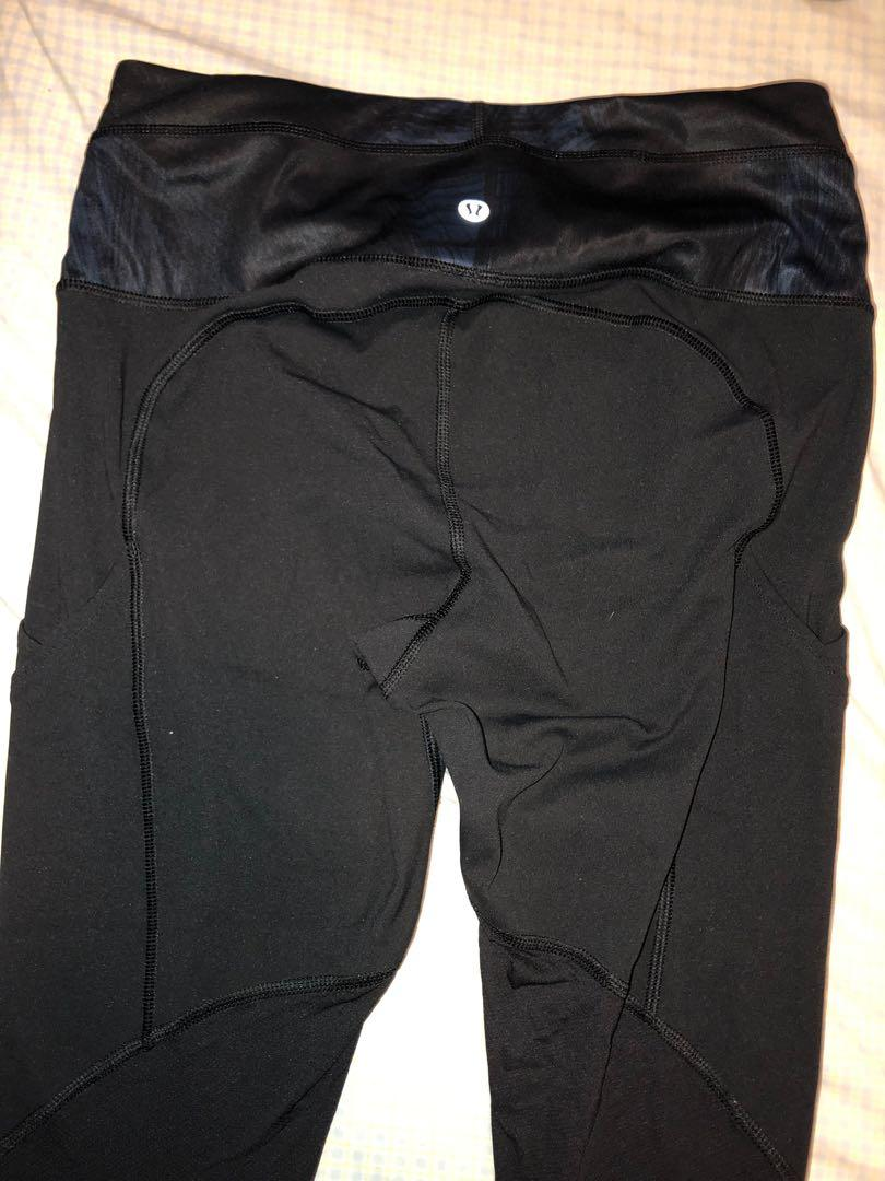 Lululemon cropped yoga pants- black with blue Size 6