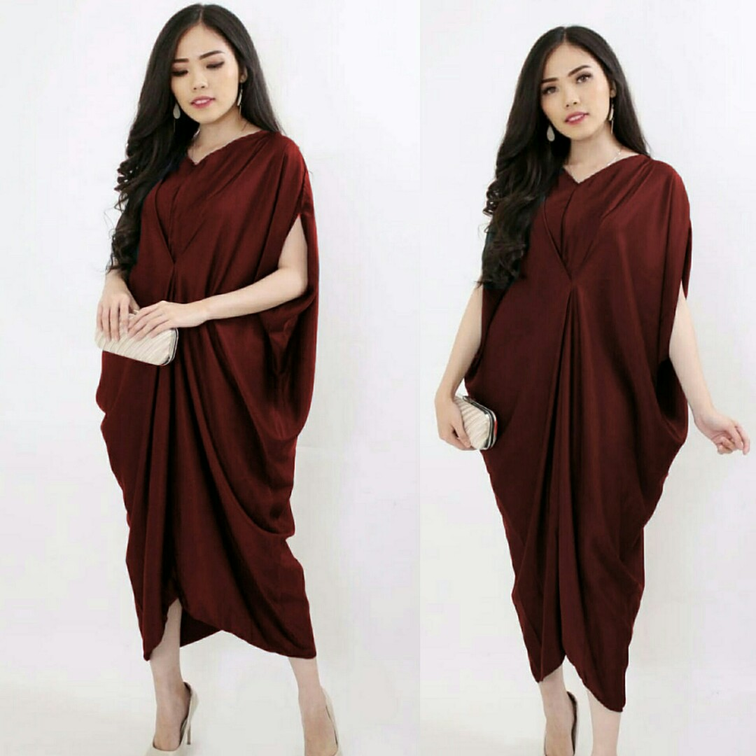 Midi Dress Alifa Batwing Dress Jumbo Polos Dress Big Size Dress