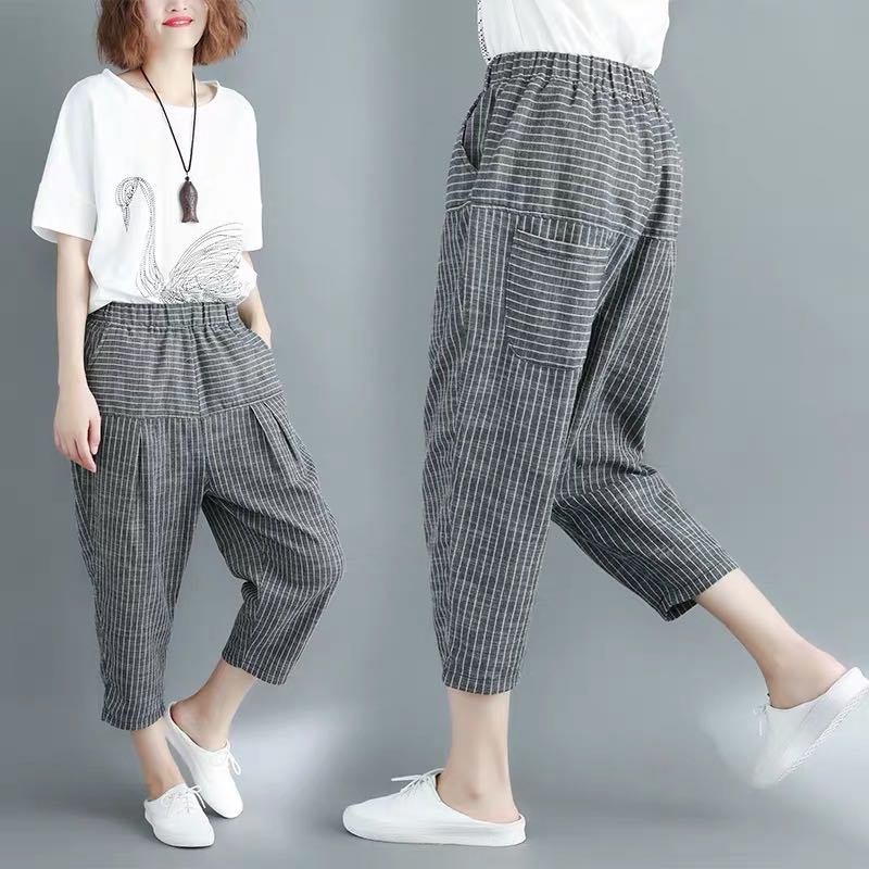 20cee6221f874 Plus size loose harem cropped trousers elastic waist classic stitching  striped casual pants
