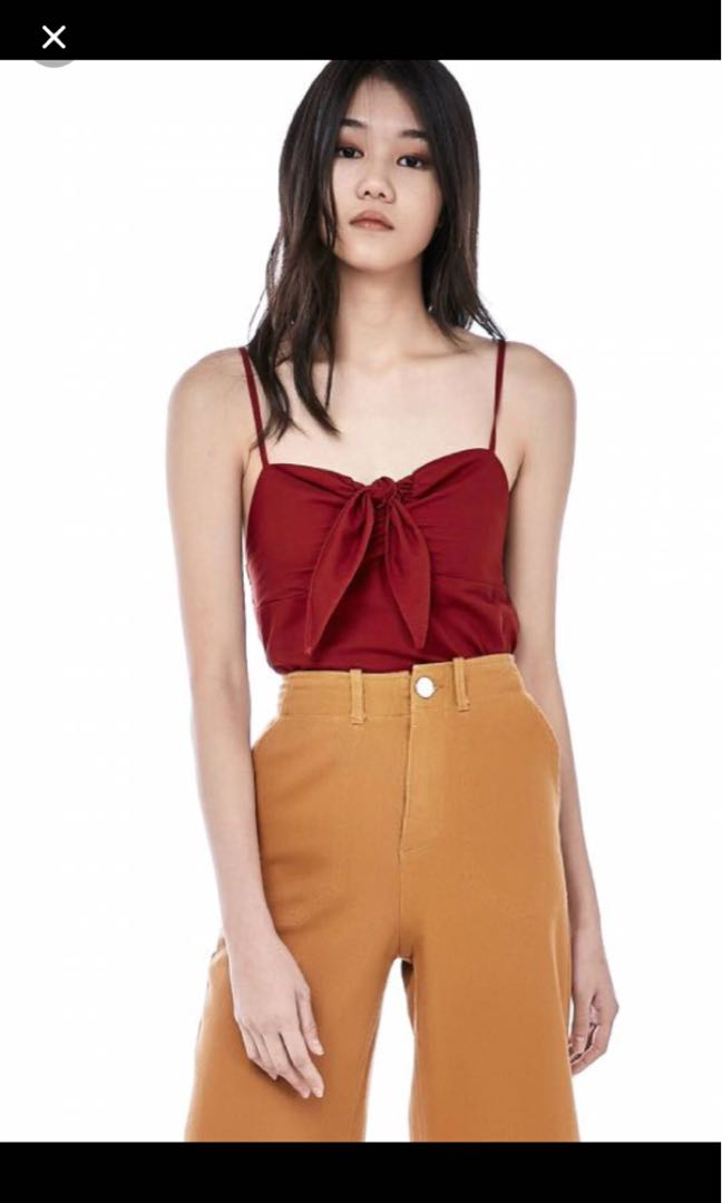 7c4173c30c10d2 TEM Meara Front-Tie Crop Top, Women's Fashion, Clothes, Tops on Carousell