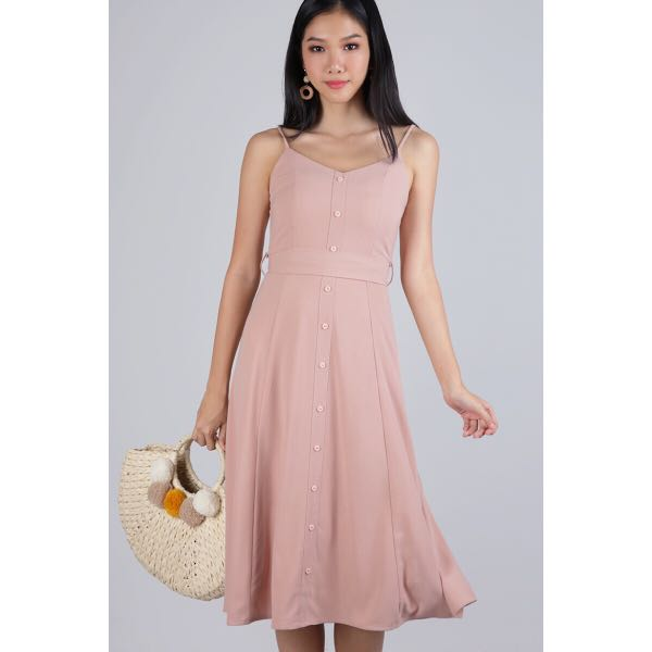 65c559237742 TTR Izzy V Neck Midi Dress Blush Pink BNWT (S)