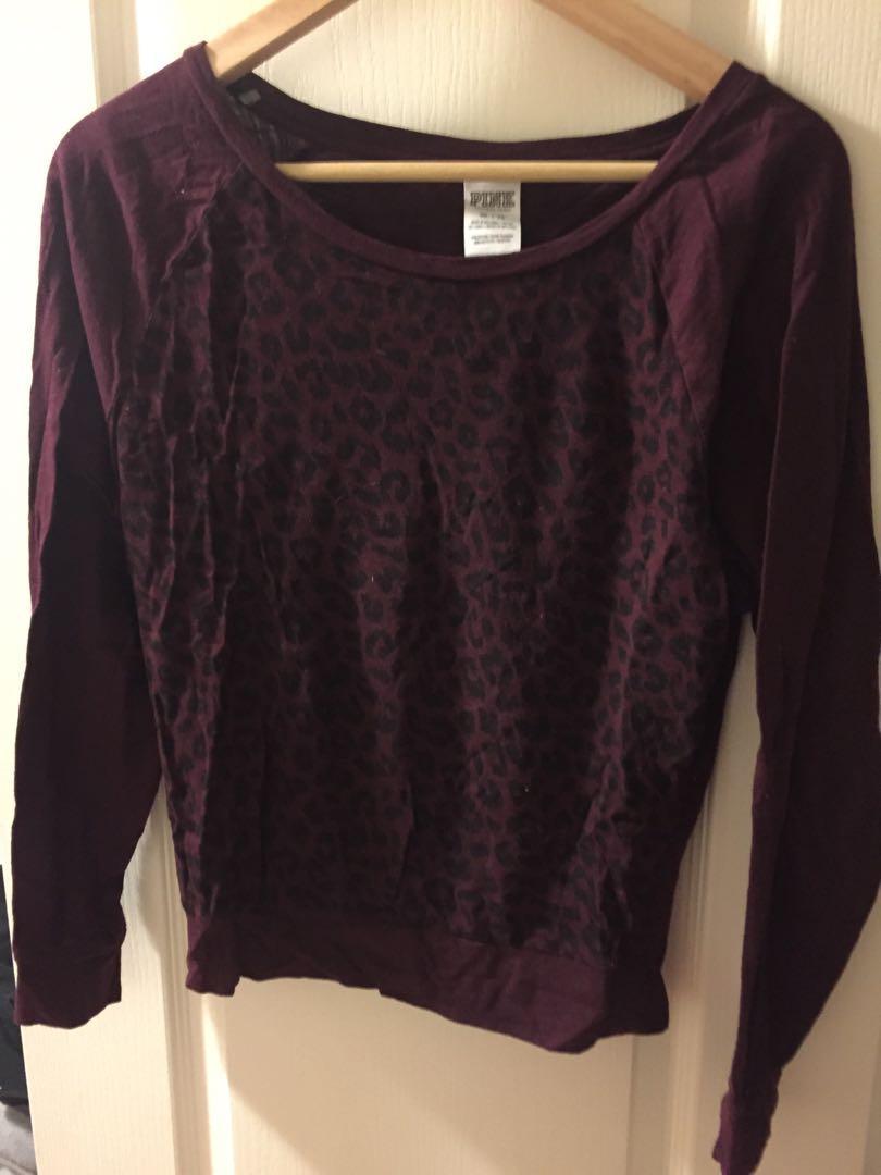 Victoria secret Pink Burgundy leopard print shirt size XS