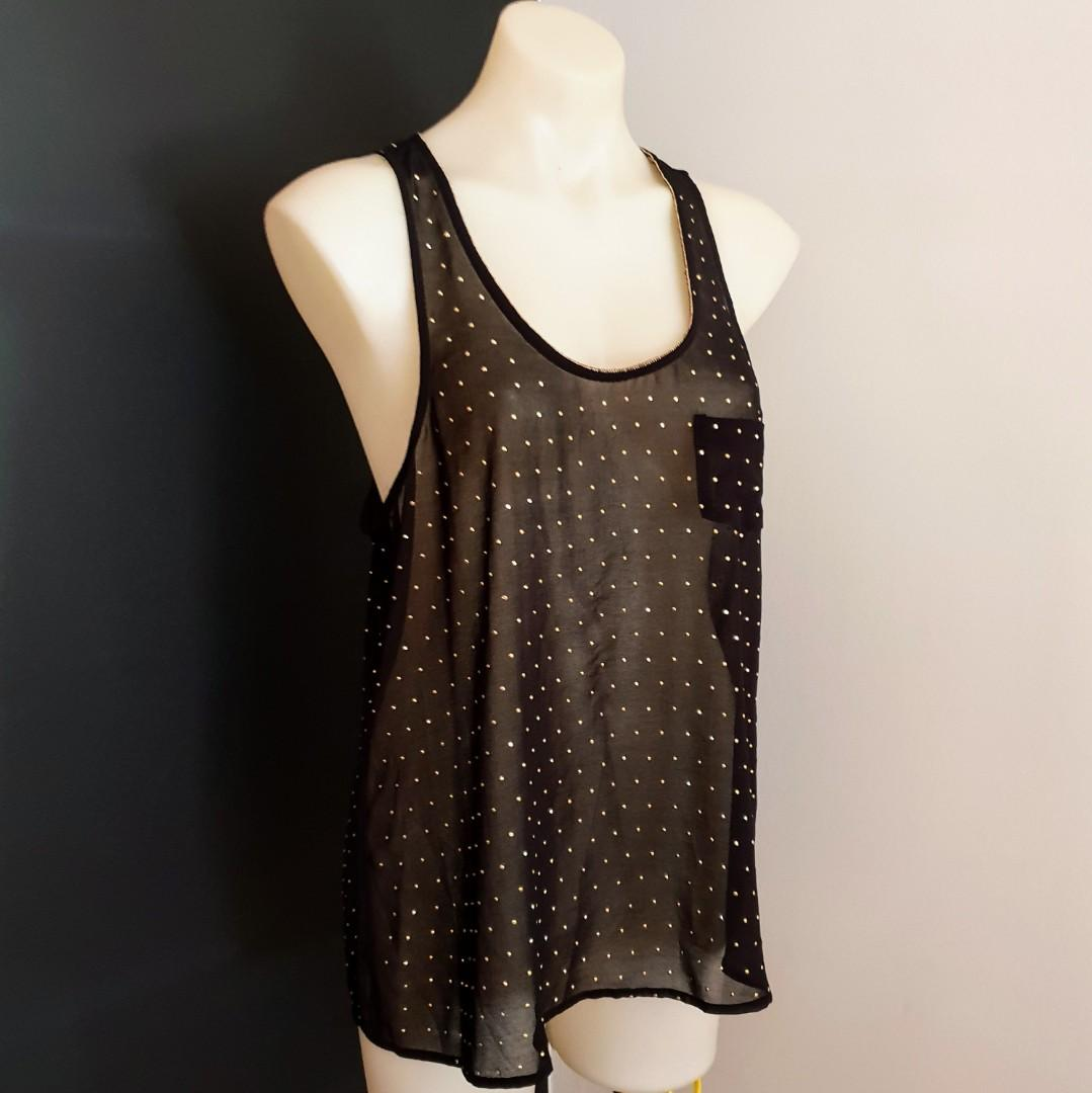 Women's size 12 'FOREVER NEW' Stunning sheer black racerback top with gold studs - AS NEW
