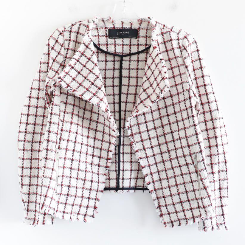 Zara open front plaid grid cotton cardigan M medium
