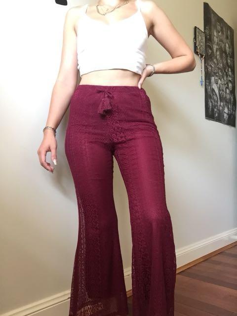 Zoe & Rose Band of Gypsies Burgundy Lace elastic waist pants Retail $47