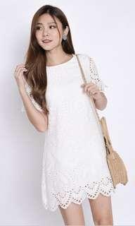 TPZ* (PREMIUM) SHEILA EYELET SHIFT DRESS IN WHITE