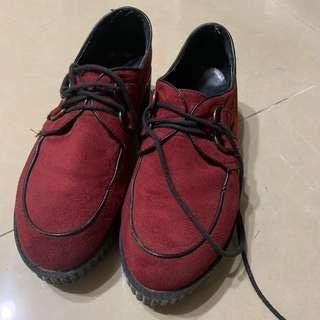 🚚 厚底鬆糕鞋#酒紅色