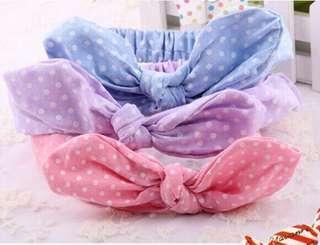 🚚 嬰兒女寶寶 百搭髮帶 藍色 紫色 粉紅色 小白球圓點點