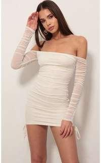 Authentic Lucy in the sky Aria gold off shoulder runched dress