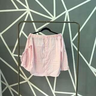 Pink stripes off-shoulder top