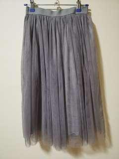 Tulle Midi Skirt (Grey)