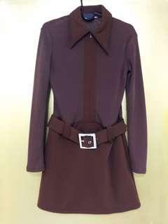 Brown long sleeve dress front zipper