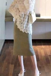 🚚 墨綠高腰針織裙