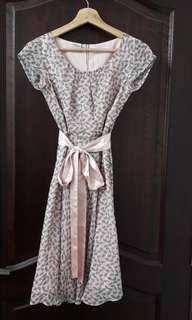 Pink floral chiffon dress (S size)